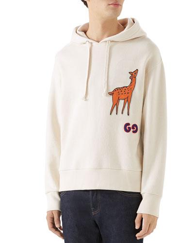 Men's Deer-Applique Pullover Hoodie