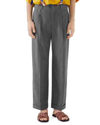 Men's Wide-Leg Cuffed Trousers
