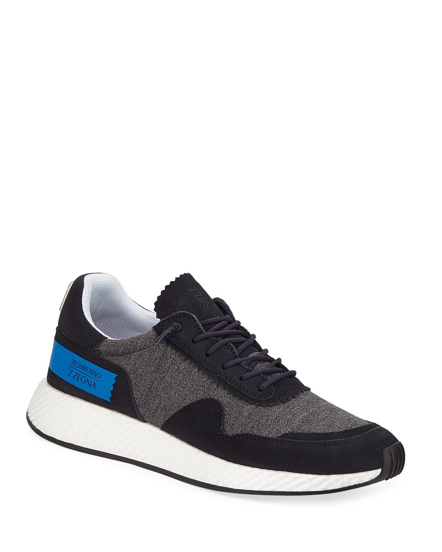 Ermenegildo Zegna Sneakers MEN'S PIUMA TECHMERINO VIRGIN WOOL TRAINER SNEAKERS