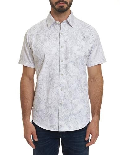 Men's Dragon Fire Graphic Short-Sleeve Sport Shirt