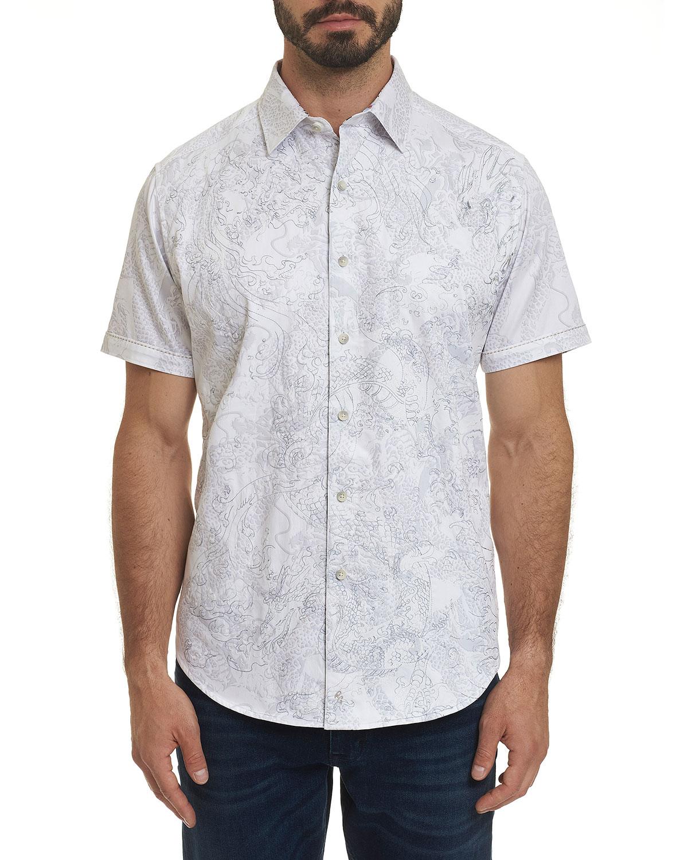 Robert Graham T-shirts MEN'S DRAGON FIRE GRAPHIC SHORT-SLEEVE SPORT SHIRT