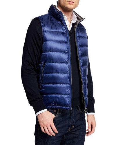Men's Reversible Zip-Front Puffer Vest
