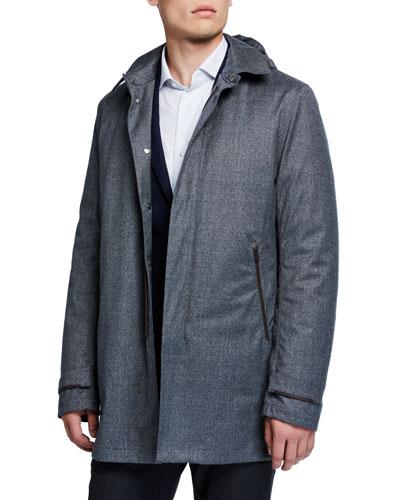 Men's Wool Raincoat w/ Detachable Hood