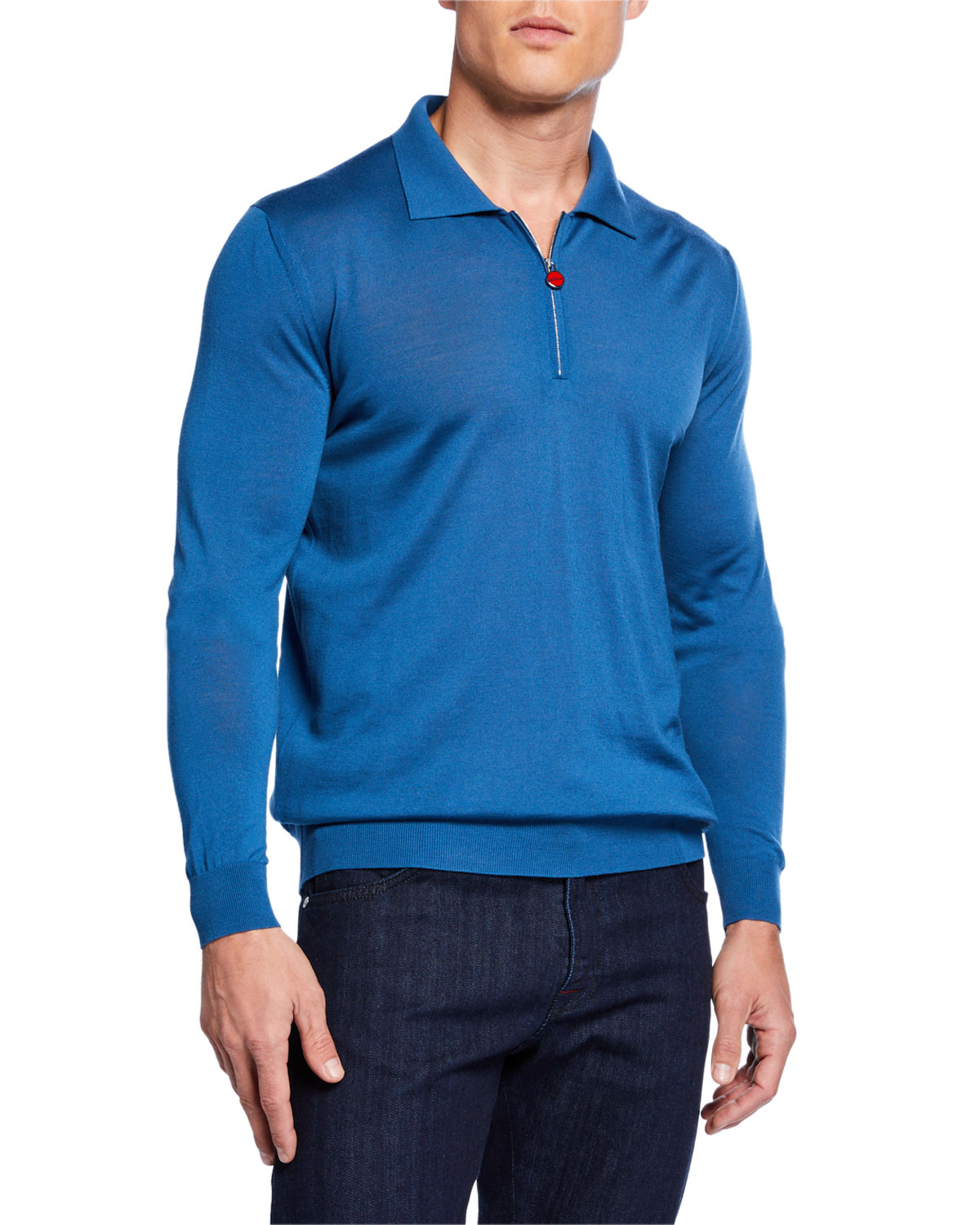 Kiton T-shirts MEN'S LONG-SLEEVE ZIP POLO SHIRT