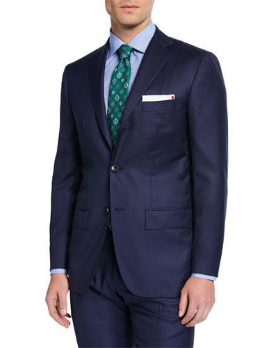 Men's Solid Sharkskin Wool Two-Piece Suit