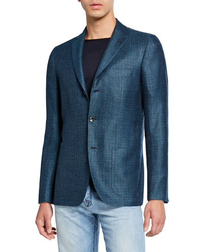 Men's Textured Cashmere-Blend Three-Button Jacket