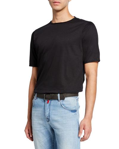 Men's Crewneck Short-Sleeve Cotton T-Shirt, Black
