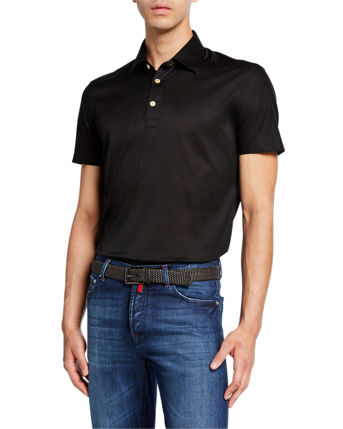 Kiton T-shirts MEN'S JERSEY COTTON POLO SHIRT, BLACK