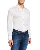 Kiton Men's Solid Jersey Long-Sleeve Sport Shirt