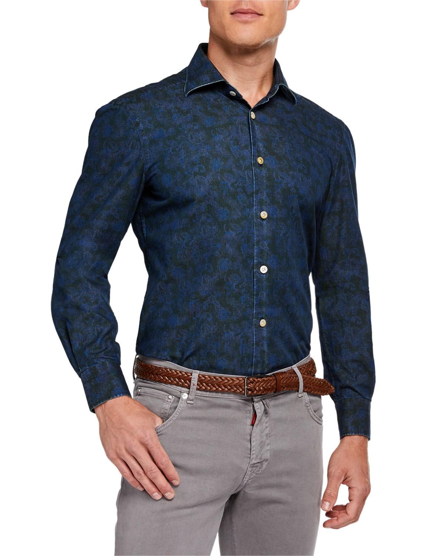 Kiton T-shirts MEN'S COTTON PAISLEY-PRINT SPORT SHIRT