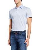 Kiton Men's Jersey Cotton Polo Shirt, Light Blue
