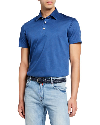 Men's Jersey Cotton Polo Shirt, Blue