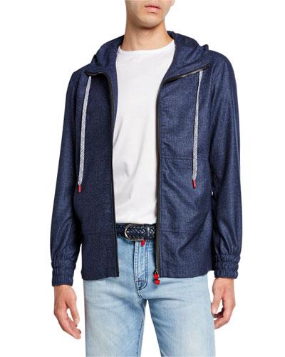 Men's Tic-Weave Zip-Front Hoodie