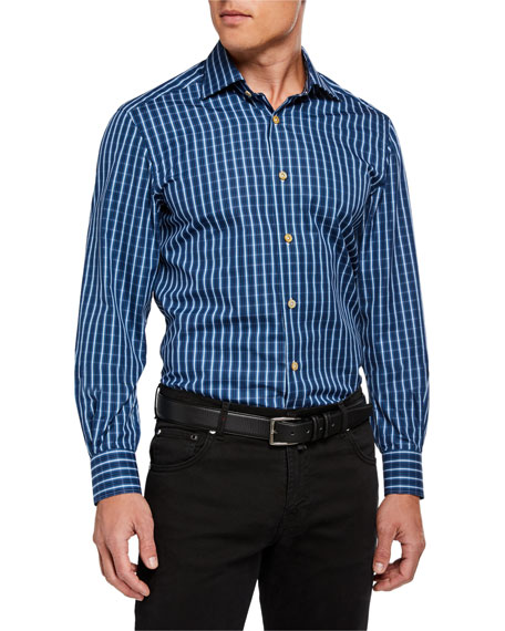 Kiton Men's Long-Sleeve Check Sport Shirt