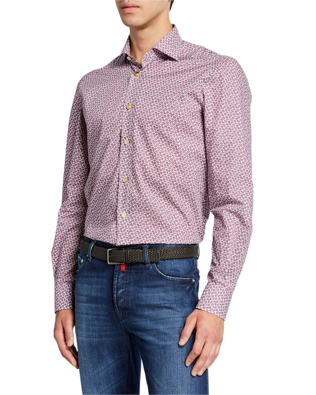 Kiton T-shirts MEN'S MICRO FLORAL COTTON SHIRT
