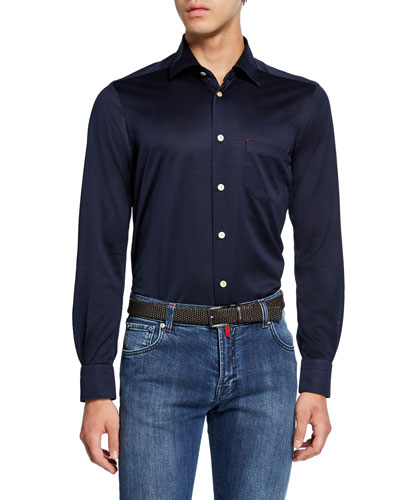 Men's Jersey Cotton Shirt, Navy