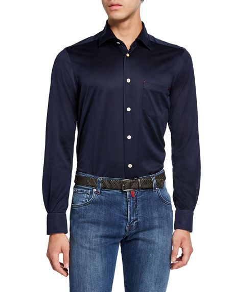 Kiton Men's Jersey Cotton Shirt, Navy