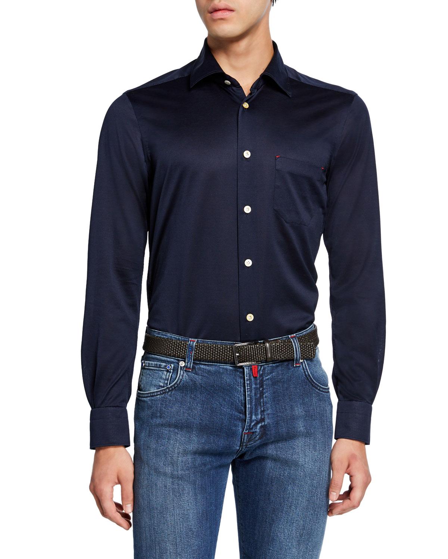 Kiton T-shirts MEN'S JERSEY COTTON SHIRT, NAVY
