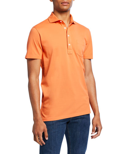 Men's Pocket Polo Shirt, Orange