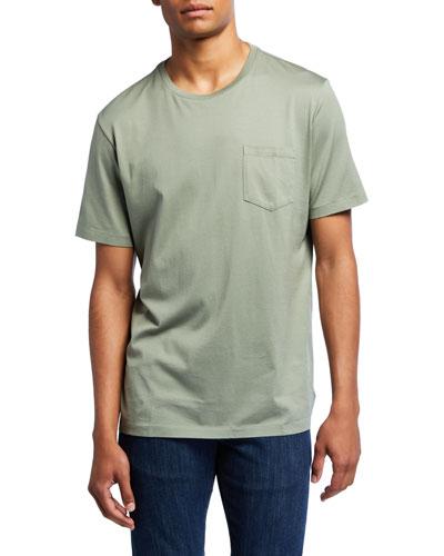 Men's Washed Cotton Pocket T-Shirt, Green