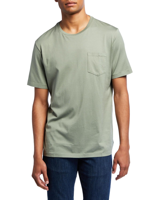 Ralph Lauren T-shirts MEN'S WASHED COTTON POCKET T-SHIRT, GREEN