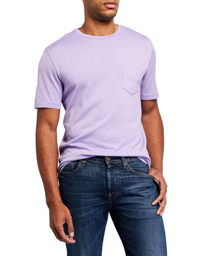 Men's Washed Cotton Pocket T-Shirt, Lavender