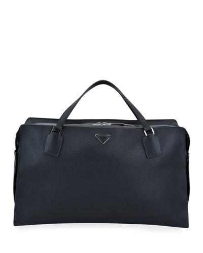 Men's Large Soft Leather Weekender Duffel Bag