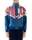 Gucci Men's Retro Logo Colorblock Leather Bomber Jacket