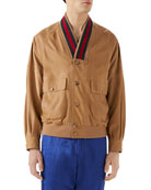 Gucci Men's Leather Cardigan Jacket w/ Signature Stripes