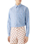 Gucci Men's Bee Stripe Fil Coupe Sport Shirt