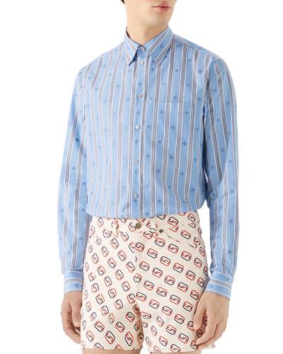 Men's Bee Stripe Fil Coupe Sport Shirt