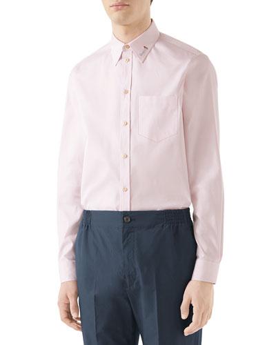 Men's Embroidered-Collar Cotton Sport Shirt