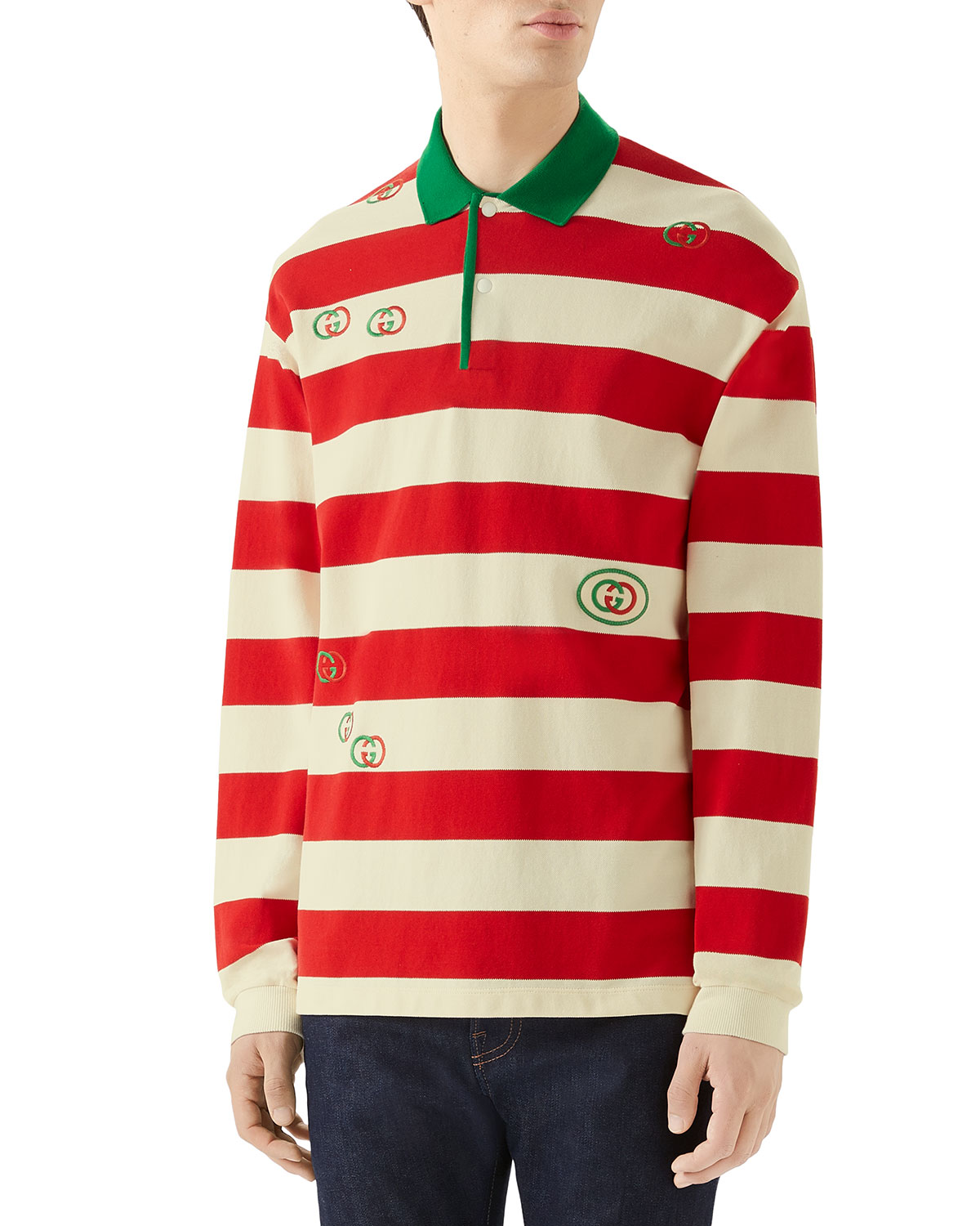 c5e3fd69c Gucci Men's Long-Sleeved Striped Logo Polo Shirt In Red Pattern ...