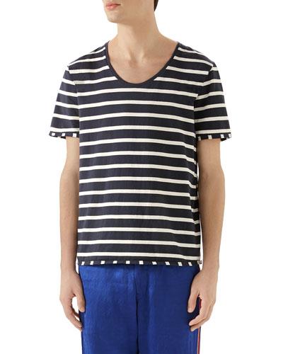 Men's Striped Scoop-Neck T-Shirt