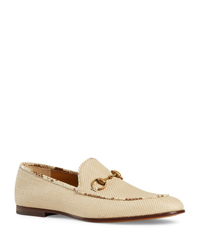 Men's New Jordaan Raffia Loafers with Snakeskin Trim