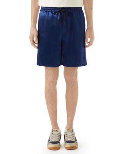 Men's Side-Stripe Drawstring Satin Shorts