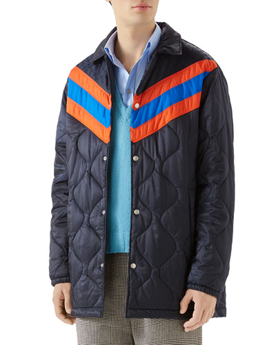 Men's Quilted Stripe Coat