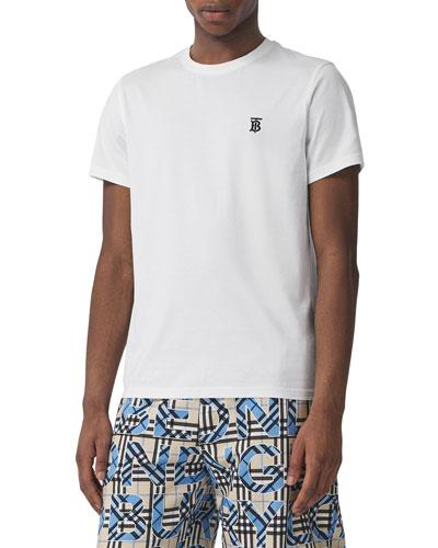 Men's Parker Logo-Embroidered T-Shirt, White