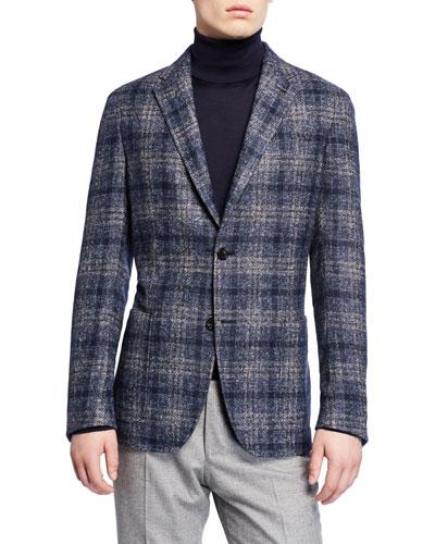 Men's Melange Plaid Sport Coat
