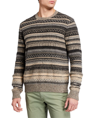 Men's Fair Isle Knit Crewneck Sweater