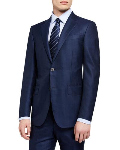 Men's Textured Stripe Two-Piece Suit