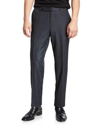 Men's Wool-Silk Flannel Trousers