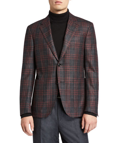 Men's Plaid Wool-Blend Sport Jacket