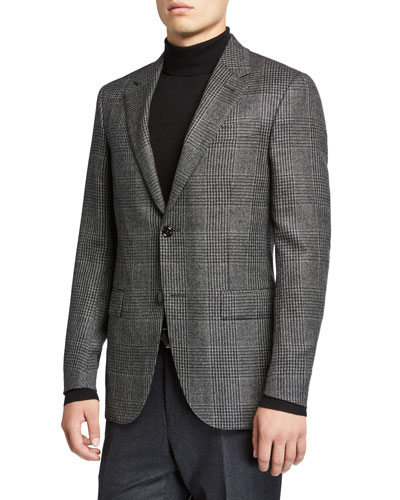 Men's Prince of Wales Check Cashmere Sport Jacket