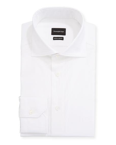 Ermenegildo Zegna Men's Milano Fit Solid Trofeo Comfort Cotton Trim-Fit Dress Shirt
