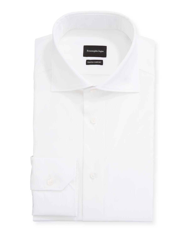 Men's Milano Fit Solid Trofeo Comfort Cotton Trim-Fit Dress Shirt