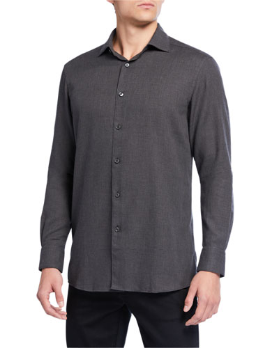 Men's Cotton/Cashmere Twill Sport Shirt