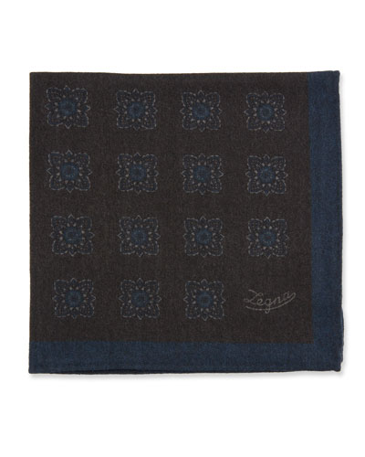 Men's Reversible Wool Pocket Square, Brown
