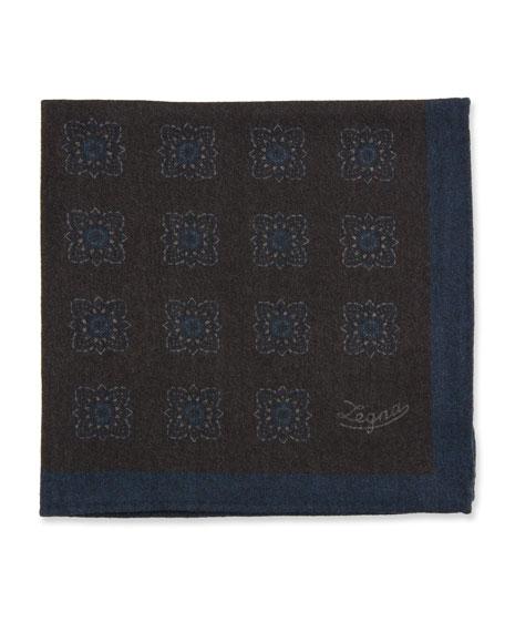 Ermenegildo Zegna Men's Reversible Wool Pocket Square, Brown
