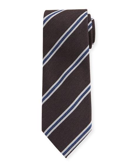 Ermenegildo Zegna Men's Framed-Stripe Tie, Brown